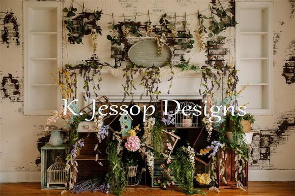Load image into Gallery viewer, Kate Spring Floral Backdrop for Photography Designed by Keerstan Jessop