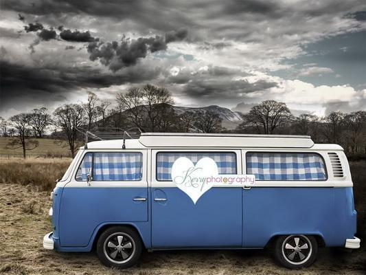 Kate Camping Camper Blue Cloud Hills Backdrop for Photography Designed by Kerry Anderson