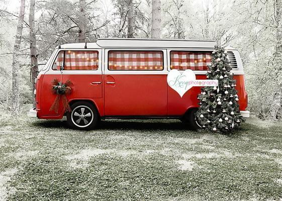 Kate Christmas Tree Red Camper van in Snow Backdrop for Photography Designed by Kerry Anderson