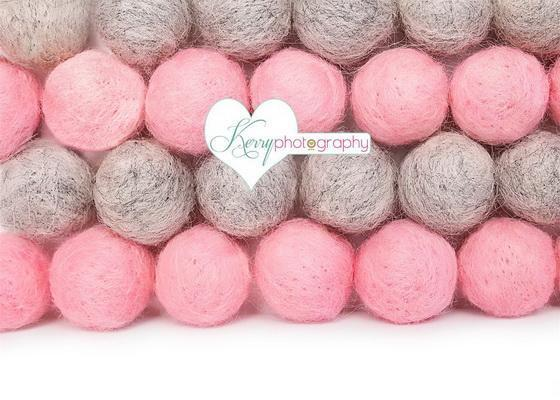 Kate Pink and Gray Pom Pom Ball Wall Birthday Backdrop for Photography Designed by Kerry Anderson