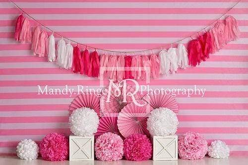Kate Pink and White Birthday with Stripes Backdrop Designed By Mandy Ringe Photography