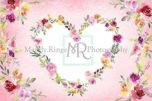 Kate Watercolor Floral Valentine's Day Heart Backdrop Designed By Mandy Ringe Photography