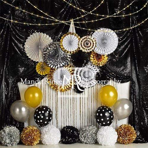 Kate Black and Gold New Year Eve Party Backdrop Designed By Mandy Ringe Photography