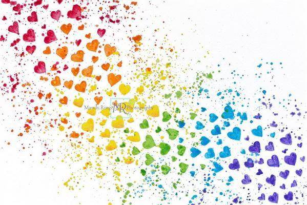 Kate Rainbow Hearts Paint Splatter Backdrop Designed by Mandy Ringe Photography