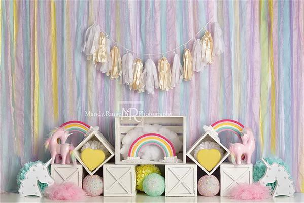 Kate Rainbow Unicorn Birthday Backdrop Designed by Mandy Ringe Photography