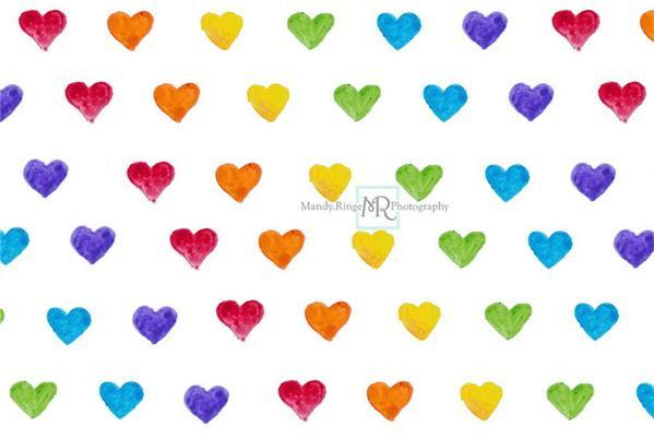 Kate Watercolor Rainbow Heart Pattern Backdrop Designed by Mandy Ringe Photography
