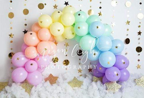 Kate Rainbow Balloons Garland Children Cake Smash Backdrop Designed by Megan Leigh Photography