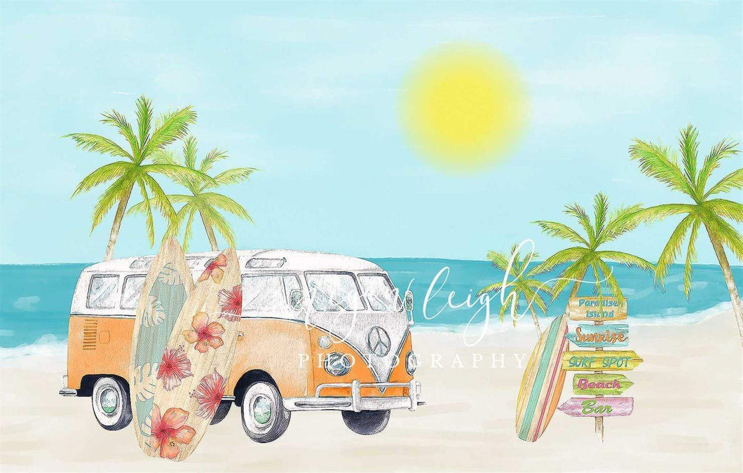 Katebackdrop Kate Beach Van Summer Backdrop Designed by Megan Leigh Photography
