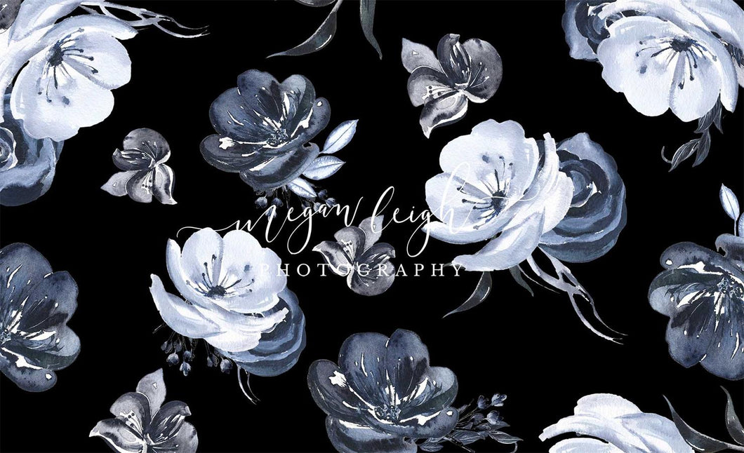Kate Fine Art White Flowers Black Floral Backdrop Designed by Megan Leigh Photography
