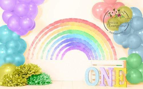 Kate 1st Birthday Rainbow with Balloons Backdrop Designed By Jessica Evangeline photography