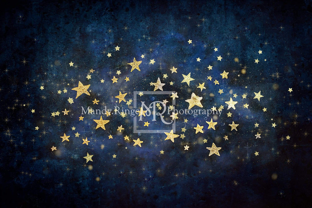 Kate Night Sky with Gold Stars Children Birthday Backdrop for Photography Designed by Mandy Ringe Photography