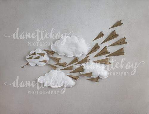 Load image into Gallery viewer, Kate Paper Airplane with Clouds Children Backdrop for Photography Designed by Danette Kay Photography
