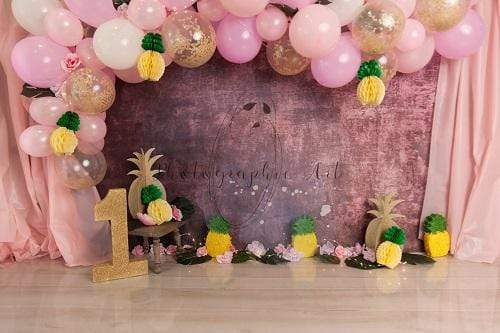 Kate 1st Birthday Pineapple with Balloons Backdrop for Photography Designed by Jenna Onyia