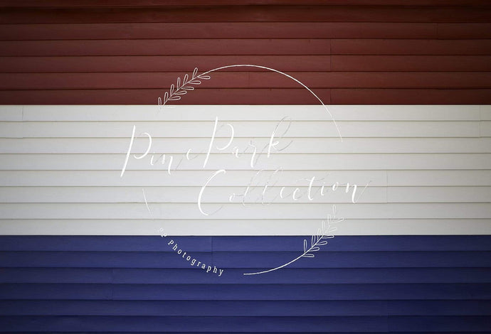 Kate Red White and Blue Wood Backdrop for Photography Designed by Pine Park Collection