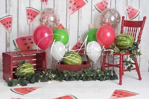 Load image into Gallery viewer, Kate Children Summer Cake Smash Watermelon Backdrop Designed By Rose Abbas
