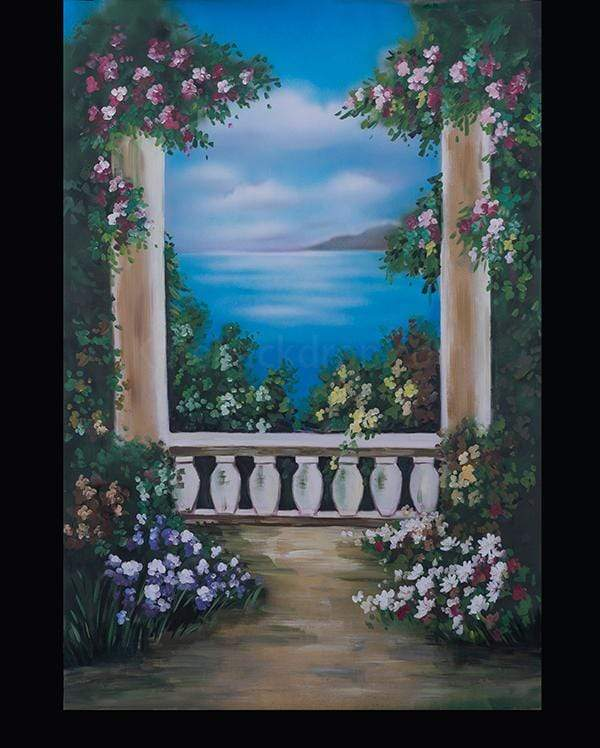 Kate Sea Scenery Flower Pillar Spray Painted Backdrop