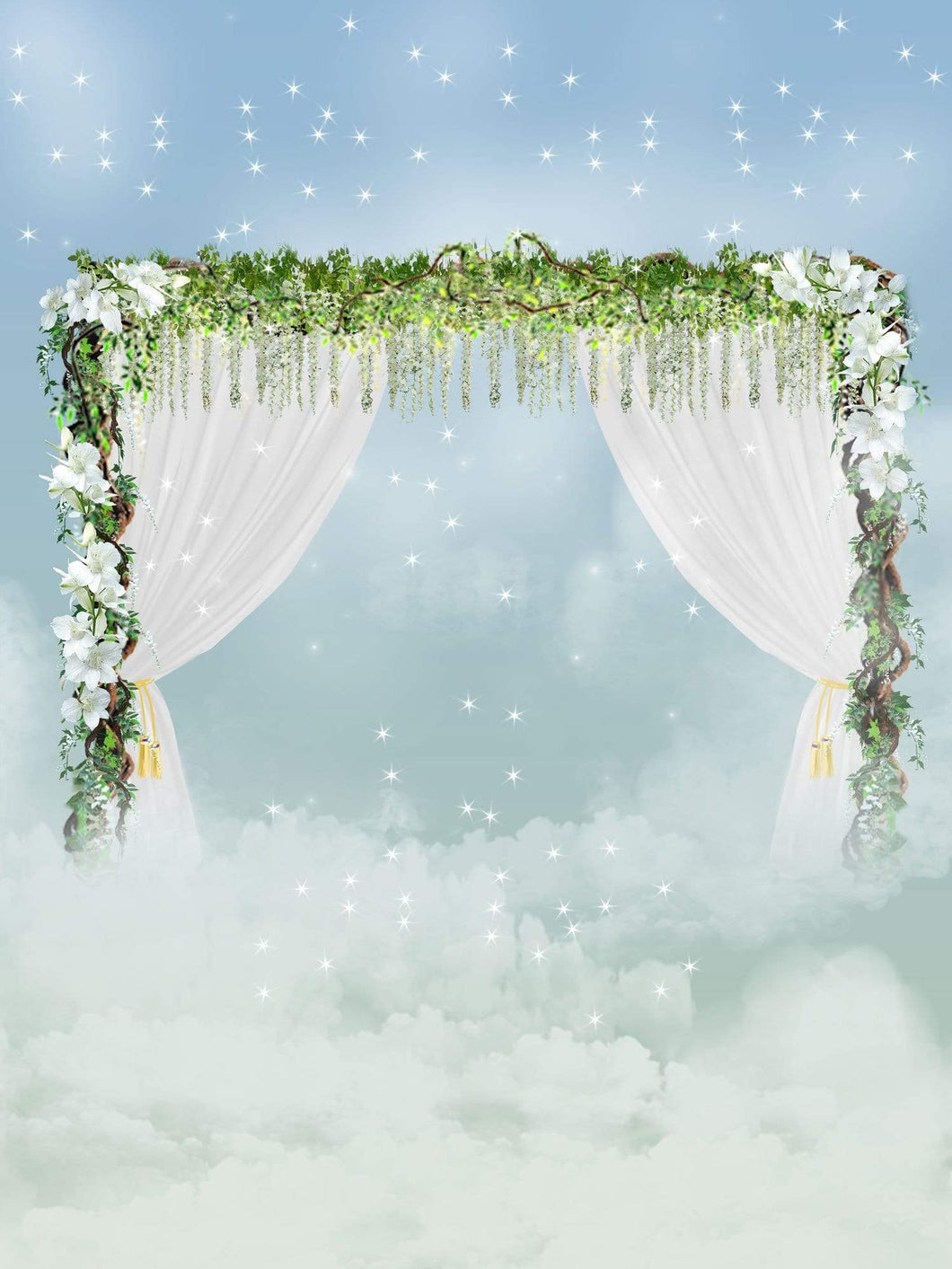 Kate Wedding Flower White Curtains Glitter Backdrop Designed By Jerry_Sina
