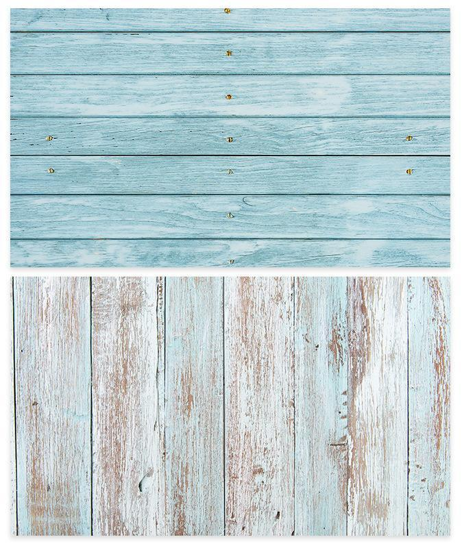Kate 57x87cm Waterproof Double-Sided Paper Backdrop Blue Wood for Photography