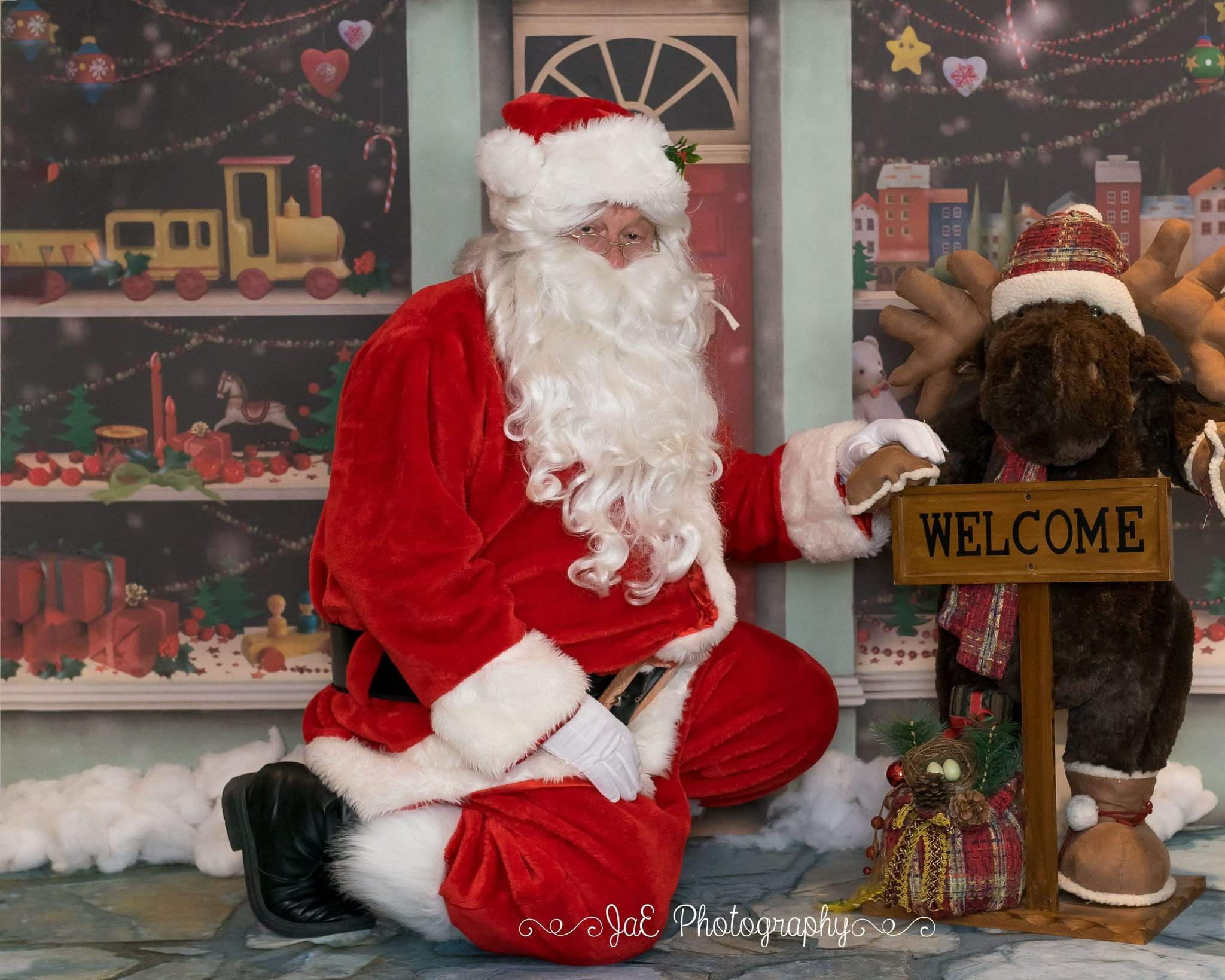 Load image into Gallery viewer, Kate Christmas Santa Workshop Photography Backdrop Children Photo Background