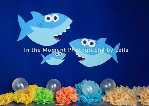 Kate Cake Smash Children Under Sea Shark Backdrop for Photography Designed By Leila Steffens