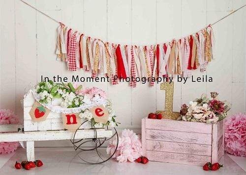 Kate Children Cake Smash Strewberry Backdrop for Photography Designed By Leila Steffens