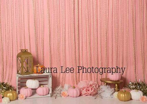 Kate Sweet Fall Pumpkins Thanksgiving Pink Backdrop Designed by Laura Lee Photography