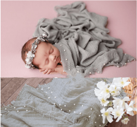 Load image into Gallery viewer, Kate 98x185cm  Newborn Baby Cotton Fabric Pearl Wrap for photography