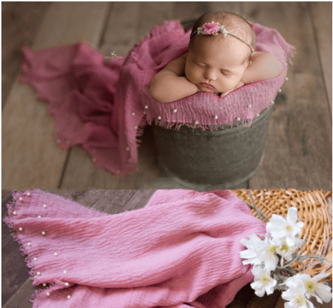 Kate 98x185cm  Newborn Baby Cotton Fabric Pearl Wrap for photography