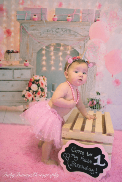 Katebackdrop£ºKate Cake Smash For Party Photography Pink 1st birthday Backdrop Balloons