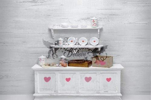 Kate Valentine White Kitchen Backdrop Designed by Mini MakeBelieve