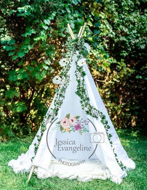 Kate Green Trees White Teepee Children Backdrop Designed by Jessica Evangeline photography