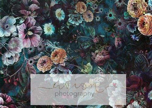 Load image into Gallery viewer, Kate Vintage Dark Rose Floral Backdrop for Photography Designed By Avion Photography