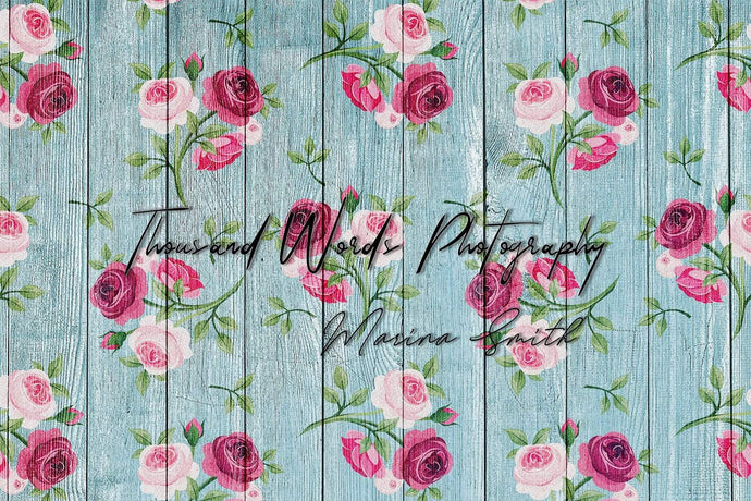 Kate Floral Vintage Roses Blue Wood Backdrop for Photography Designed by Marina Smith