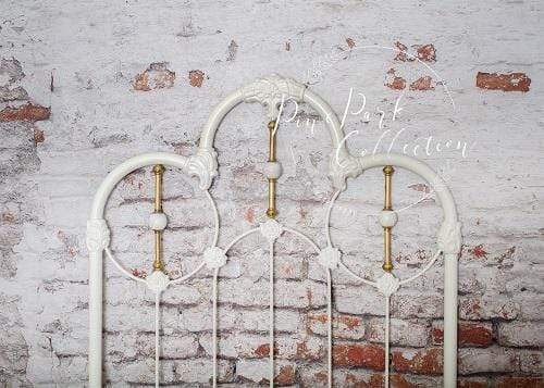 Kate White Headboard Damaged Brick Wall Backdrop Designed by Pine Park Collection