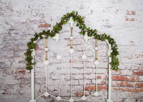 Kate White Headboard with Ivy Brick Wall Backdrop Designed by Pine Park Collection