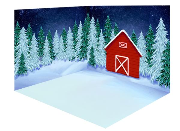 Kate Winter/Christmas Backdrop Snow Forest Red House Room Set
