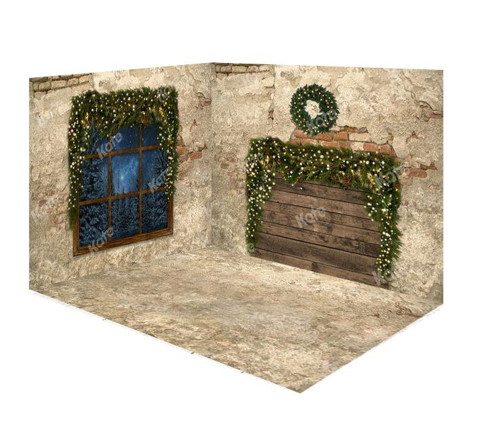 Kate Christmas Window Do Old Brick Wall&Floor Room Set