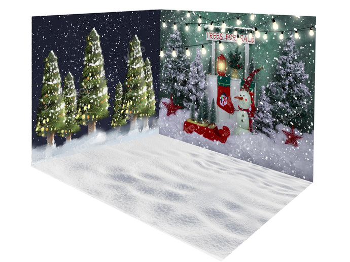 Kate Christmas Trees Snowman Stand Backdrop Room Set
