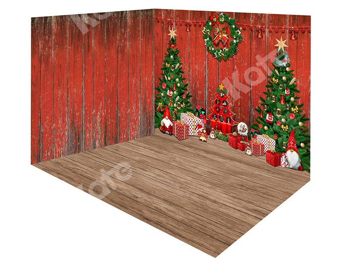 Kate Christmas Trees Wood Red Wall Backdrop Room Set