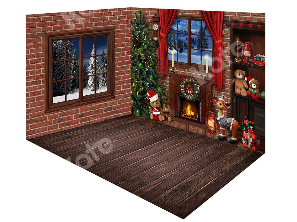 Kate Christmas Brick Wall Window Fireplace Backdrop Room Set
