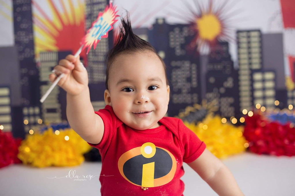 Kate Pow Children Super Hero City Photography Backdrops