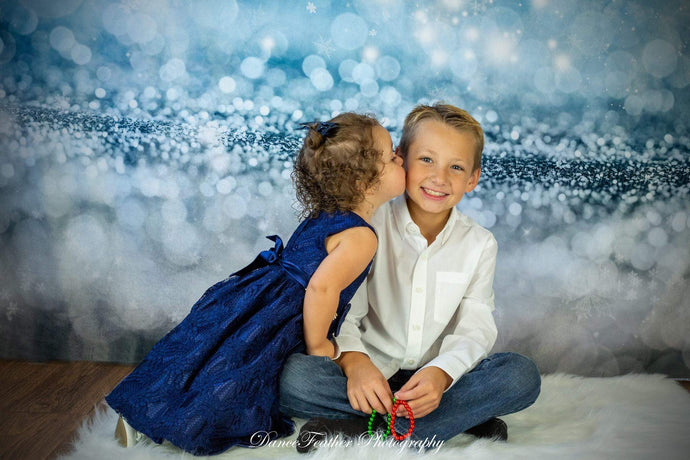 Kate Blue Bokeh Christmas Snowflake Backdrop for photos