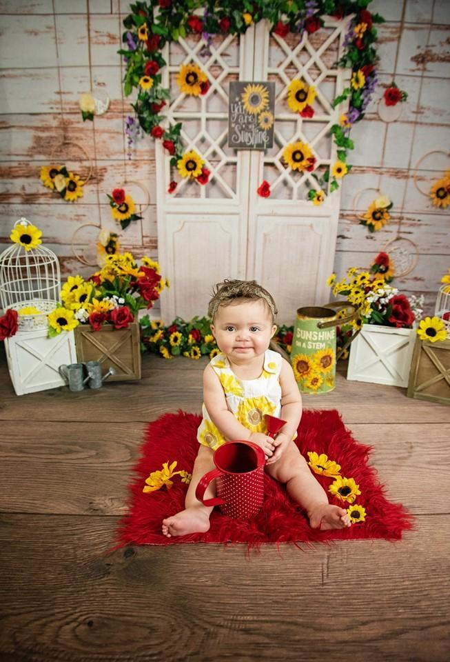Kate You Are My Sunshine Summer Sunflower Mother's Day Backdrop Designed by Stacilynnphotography