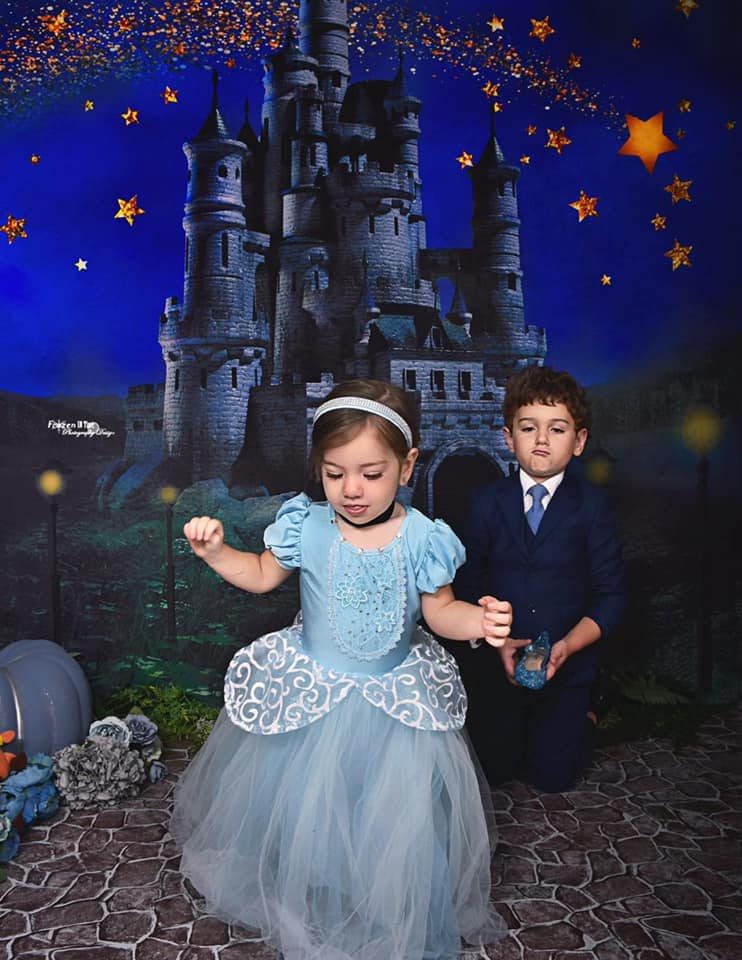 Load image into Gallery viewer, Kate Night Sky Star Castle Children Backdrop Designed by Jerry_Sina
