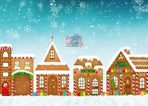 Kate Christmas Snowy Gingerbread Town Children Backdrop Designed By Leann West