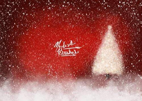 Kate Jolly Red White Snowy Christmas Backdrop Designed by Modest Brushes