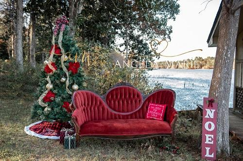 Kate Outdoor Christmas Couch Backdrop Designed By Angela Marie Photography