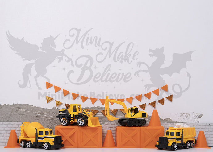 Kate Birthday Truck Construction Boy Backdrop Designed by Mini MakeBelieve