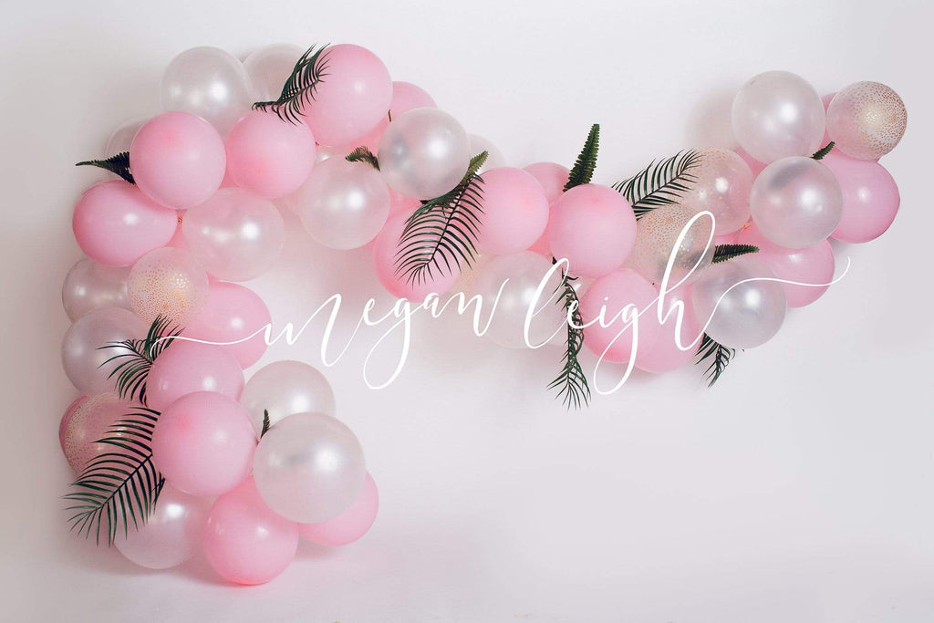 Kate Pink Balloon Garland Birthday Backdrop for Photography Designed by Megan Leigh Photography