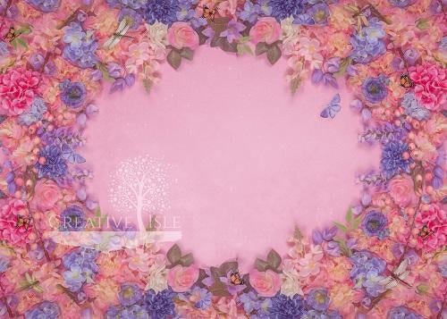 Kate Pink Flowers Backdrop Designed by Chrissie Green